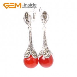 G5851 Dyed red jade Fashion pretty  round beads Marcasite silver dangle stud hoop earring 1 pair Ladies Birthstone Earrings Fashion Jewelry Jewellery
