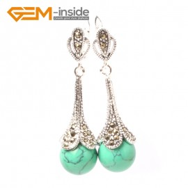 G5853 Dyed green turquoise Fashion pretty  round beads Marcasite silver dangle stud hoop earring 1 pair Ladies Birthstone Earrings Fashion Jewelry Jewellery