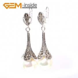 G5857 White pearl Fashion pretty  round beads Marcasite silver dangle stud hoop earring 1 pair Ladies Birthstone Earrings Fashion Jewelry Jewellery