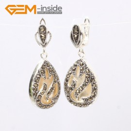 G5887 White shell Fashion beautiful drip beads Marcasite silver dangle stud hoop earring 1 pair Ladies Birthstone Earrings Fashion Jewelry Jewellery