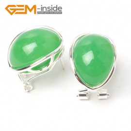 G5889 Dyed green jade G-Beads pretty  oval bead silver lever back hoop stud earring fashion jewelry Ladies Birthstone Earrings Fashion Jewelry Jewellery