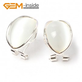 G5890 White cat eye G-Beads pretty  oval bead silver lever back hoop stud earring fashion jewelry Ladies Birthstone Earrings Fashion Jewelry Jewellery