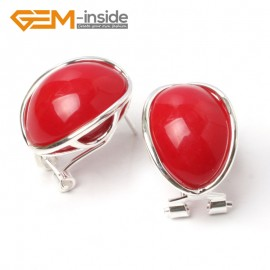 G5892 Man-made red coral G-Beads pretty  oval bead silver lever back hoop stud earring fashion jewelry Ladies Birthstone Earrings Fashion Jewelry Jewellery