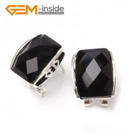 G5896 Faceted black agate Pretty rectangle bead silver lever back hoop stud earrings fashion jewelry Ladies Birthstone Earrings Fashion Jewelry Jewellery
