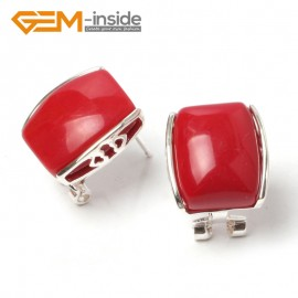 G5897 Man-made red coral Pretty rectangle bead silver lever back hoop stud earrings fashion jewelry Ladies Birthstone Earrings Fashion Jewelry Jewellery