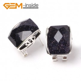 G5898 Faceted blue sandstone Pretty rectangle bead silver lever back hoop stud earrings fashion jewelry Ladies Birthstone Earrings Fashion Jewelry Jewellery