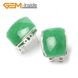 G5899 Dyed green jade Pretty rectangle bead silver lever back hoop stud earrings fashion jewelry Ladies Birthstone Earrings Fashion Jewelry Jewellery