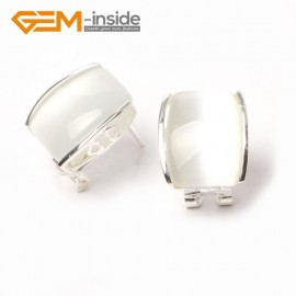 G5900 White cat eye Pretty rectangle bead silver lever back hoop stud earrings fashion jewelry Ladies Birthstone Earrings Fashion Jewelry Jewellery