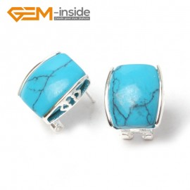 G5901 Dyed blue turquoise Pretty rectangle bead silver lever back hoop stud earrings fashion jewelry Ladies Birthstone Earrings Fashion Jewelry Jewellery
