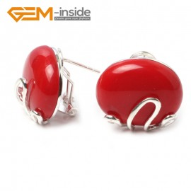 G5903 Man-made red coral Pretty  oval bead silver lever back hoop stud earring 1 pair Fashion jewelry Ladies Birthstone Earrings Fashion Jewelry Jewellery