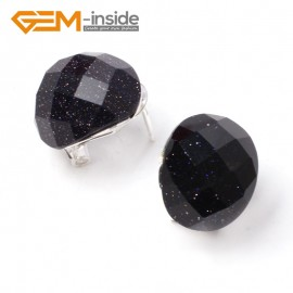 G5910 Faceted blue sandstone oval bead tibetan silver leverback hoop stud earring 1 pair Fashion jewelry Ladies Birthstone Earrings Fashion Jewelry Jewellery