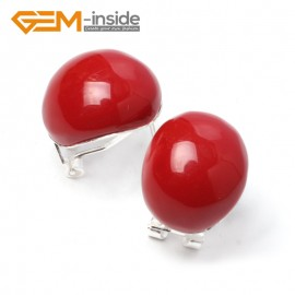 G5911 Man-made red coral oval bead tibetan silver leverback hoop stud earring 1 pair Fashion jewelry Ladies Birthstone Earrings Fashion Jewelry Jewellery