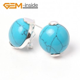 G5916 Dyed blue turquoise Fashion jewelry  coin bead tibetan silver leverback hoop stud earring 1 pair Ladies Birthstone Earrings Fashion Jewelry Jewellery
