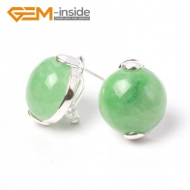 G5918 Dyed green jade Fashion jewelry  coin bead tibetan silver leverback hoop stud earring 1 pair Ladies Birthstone Earrings Fashion Jewelry Jewellery