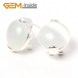 G5919 White cat eye Fashion jewelry  coin bead tibetan silver leverback hoop stud earring 1 pair Ladies Birthstone Earrings Fashion Jewelry Jewellery