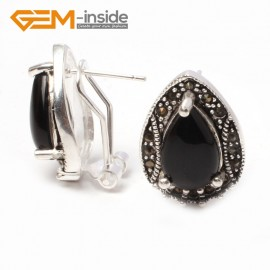 G5922 Black agate Fashion Jewelry drip bead Marcasite silver lever back hoop stud earring for gift Ladies Birthstone Earrings Fashion Jewelry Jewellery
