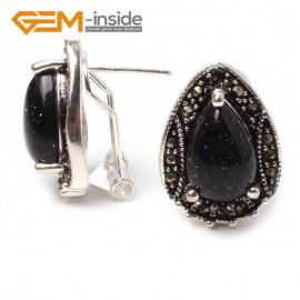 G5923 Blue sandstone Fashion Jewelry drip bead Marcasite silver lever back hoop stud earring for gift Ladies Birthstone Earrings Fashion Jewelry Jewellery