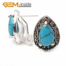 G5924 Dyed blue turquoise Fashion Jewelry drip bead Marcasite silver lever back hoop stud earring for gift Ladies Birthstone Earrings Fashion Jewelry Jewellery