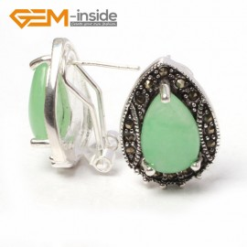 G5925 Dyed green jade Fashion Jewelry drip bead Marcasite silver lever back hoop stud earring for gift Ladies Birthstone Earrings Fashion Jewelry Jewellery