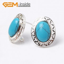 G5927 Dyed blue turquoise Fashion jewelry oval bead  silver lever back hoop stud earring 1 pair G-Beads Ladies Birthstone Earrings Fashion Jewelry Jewellery