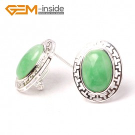 G5928 Dyed green jade Fashion jewelry oval bead  silver lever back hoop stud earring 1 pair G-Beads Ladies Birthstone Earrings Fashion Jewelry Jewellery