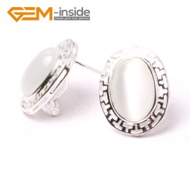 G5930 White cat eye Fashion jewelry oval bead  silver lever back hoop stud earring 1 pair G-Beads Ladies Birthstone Earrings Fashion Jewelry Jewellery