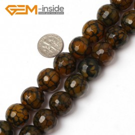"G5958 16mm Round Faceted Yellow Crackle Agate Beads Strand 15"" Free Shipping Gbeads Natural Stone Beads for Jewelry Making Wholesale`"