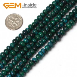 "G5964 4x6mm Roundel/Rondelle Gemstone Chrysocolla Jewelry Making Stone Beads Strand 15"" Natural Stone Beads for Jewelry Making Wholesale"