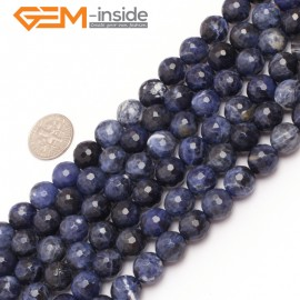 """G6951 10mm Round Faceted Gemstone Sodalite Jewelry Making Loose Beads Strand 15""""  Natural Stone Beads for Jewelry Making Wholesale"""