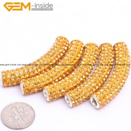 G7447 Yellow 5Pcs Rhinestones Paved Tube Bracelet Connector Charm Beads Curved CZ Crystal Fashion Jewelry Jewellery Bracelets  for women
