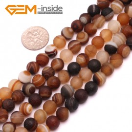 "G8192 8mm Round Frost Gemstone Banded Gray Agate DIY Jewelry Crafts Making Loose Beads15"" Natural Stone Beads for Jewelry Making Wholesale"