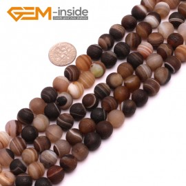 "G8193 10mm Round Frost Gemstone Banded Gray Agate DIY Jewelry Crafts Making Loose Beads15"" Natural Stone Beads for Jewelry Making Wholesale"