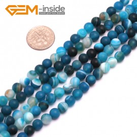 """G8202 Blue 6mm Round Gemstone Frost Matte Agate DIY Jewelry Making Beads 15""""6-14mm Pick Colors Natural Stone Beads for Jewelry Making Wholesale"""