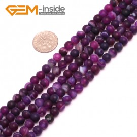 """G8203 Purple 6mm Round Gemstone Frost Matte Agate DIY Jewelry Making Beads 15""""6-14mm Pick Colors Natural Stone Beads for Jewelry Making Wholesale"""
