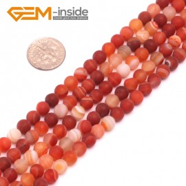 """G8204 Banded Red 6mm Round Gemstone Frost Matte Agate DIY Jewelry Making Beads 15""""6-14mm Pick Colors Natural Stone Beads for Jewelry Making Wholesale"""