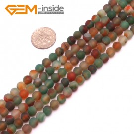 "G8209 Red&Green 6mm Round Gemstone Frost Matte Agate DIY Jewelry Making Beads 15""6-14mm Pick Colors Natural Stone Beads for Jewelry Making Wholesale"