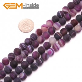 "G8210 Purple 8mm Round Gemstone Frost Matte Agate DIY Jewelry Making Beads 15""6-14mm Pick Colors Natural Stone Beads for Jewelry Making Wholesale"