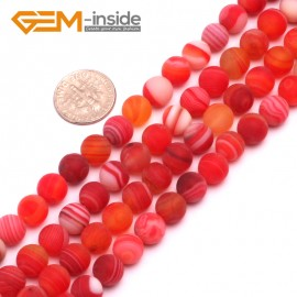 "G8212 Pink 8mm Round Gemstone Frost Matte Agate DIY Jewelry Making Beads 15""6-14mm Pick Colors Natural Stone Beads for Jewelry Making Wholesale"
