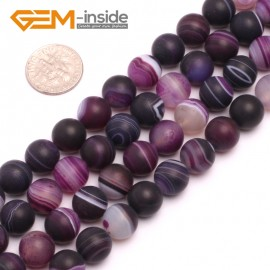 "G8221 Purple 10mm Round Gemstone Frost Matte Agate DIY Jewelry Making Beads 15""6-14mm Pick Colors Natural Stone Beads for Jewelry Making Wholesale"