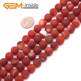 """G8225 Red 10mm Round Gemstone Frost Matte Agate DIY Jewelry Making Beads 15""""6-14mm Pick Colors Natural Stone Beads for Jewelry Making Wholesale"""