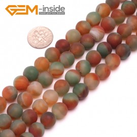 """G8227 Red&Green 10mm Round Gemstone Frost Matte Agate DIY Jewelry Making Beads 15""""6-14mm Pick Colors Natural Stone Beads for Jewelry Making Wholesale"""