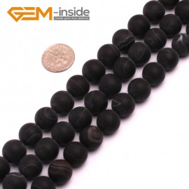 "G8229 Black 12mm Round Gemstone Frost Matte Agate DIY Jewelry Making Beads 15""6-14mm Pick Colors Natural Stone Beads for Jewelry Making Wholesale"
