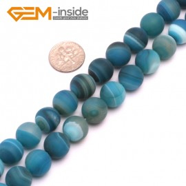 """G8233 Sky Blue 12mm Round Gemstone Frost Matte Agate DIY Jewelry Making Beads 15""""6-14mm Pick Colors Natural Stone Beads for Jewelry Making Wholesale"""
