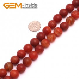 """G8234 Red 12mm Round Gemstone Frost Matte Agate DIY Jewelry Making Beads 15""""6-14mm Pick Colors Natural Stone Beads for Jewelry Making Wholesale"""