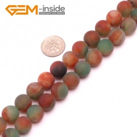 "G8237 Red&Green 12mm Round Gemstone Frost Matte Agate DIY Jewelry Making Beads 15""6-14mm Pick Colors Natural Stone Beads for Jewelry Making Wholesale"