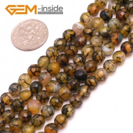"G8246 6mm Yellow Round Faceted Gemstone Crackle Agate DIY Crafts Jewelry Loose Beads Strand 15"" Natural Stone Beads for Jewelry Making Wholesale"