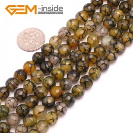 "G8247 8mm Yellow Round Faceted Gemstone Crackle Agate DIY Crafts Jewelry Loose Beads Strand 15"" Natural Stone Beads for Jewelry Making Wholesale"