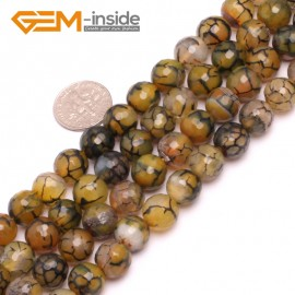"G8248 10mm Yellow Round Faceted Gemstone Crackle Agate DIY Crafts Jewelry Loose Beads Strand 15"" Natural Stone Beads for Jewelry Making Wholesale"