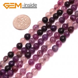 """G8251 6mm Purple Round Faceted Gemstone Crackle Agate DIY Crafts Jewelry Loose Beads Strand 15"""" Natural Stone Beads for Jewelry Making Wholesale"""