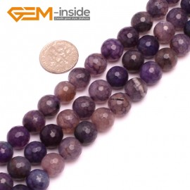 "G8253 10mm Purple Round Faceted Gemstone Crackle Agate DIY Crafts Jewelry Loose Beads Strand 15"" Natural Stone Beads for Jewelry Making Wholesale"